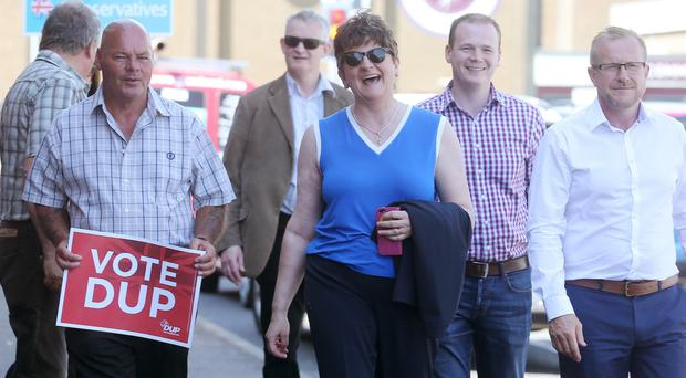 DUP leader Arlene Foster canvasses in Monkstown