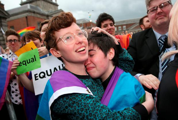 Happy times: marriage equality supporters celebrate in Dublin
