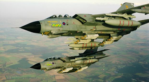 Tornados in a training exercise over England