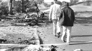 Aftermath of the Miami Showband massacre on the main Belfast-Dublin road. Three band members and two UVF men, who were also  in the UDR, were killed in the attack in 1975