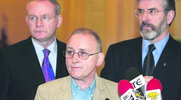 Double agent Denis Donaldson flanked by Sinn Fein's Gerry Adams and Martin McGuinness