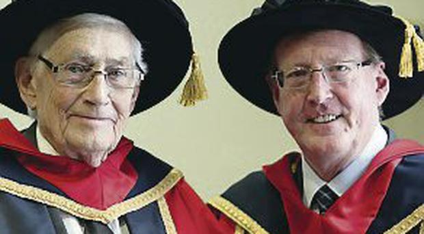 Lord David Trimble (right) and Seamus Mallon at Dublin City University where they received honorary degrees in recognition of their key contribution to the Northern Ireland peace process.