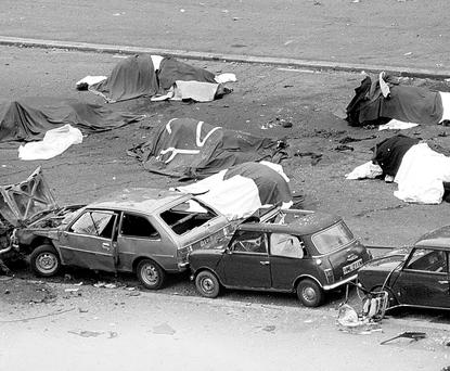 Horses lie dead on the street after the IRA's 1982 Hyde Park bombing