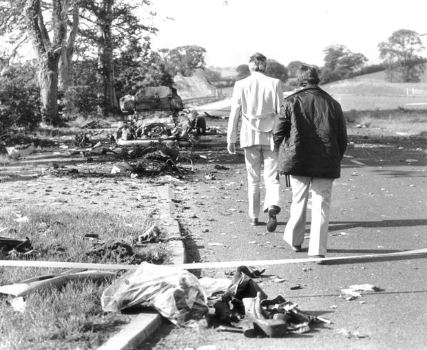 Cases being examined include the Miami Showband Massacre in 1975. Above: Aftermath of the massacre on the main Belfast-Dublin road. Three band members and two UVF men, who were also in the UDR, were killed in the attack in 1975