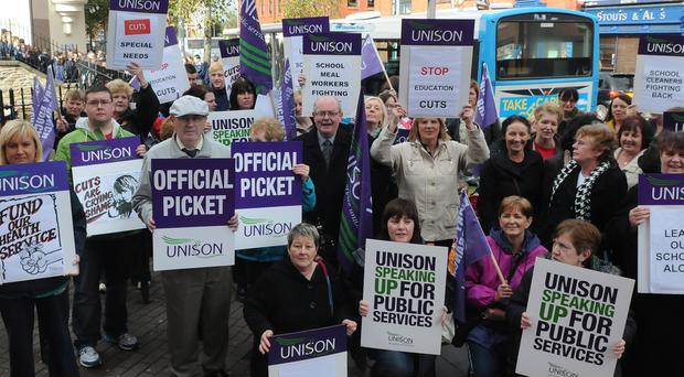 Trade union activists on the streets — but five-party coalition at Stormont isn't the best model to deal with real issues like building prosperity