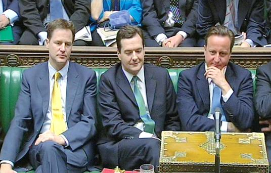 The front bench of the last government (from left) Nick Clegg, George Osborne and David Cameron