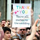 Yes voters celebrate the same-sex marriage referendum result in Dublin last week