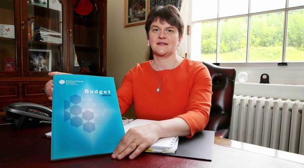 Finance Minister Arlene Foster in her office at Parliament Buildings with her budget plan