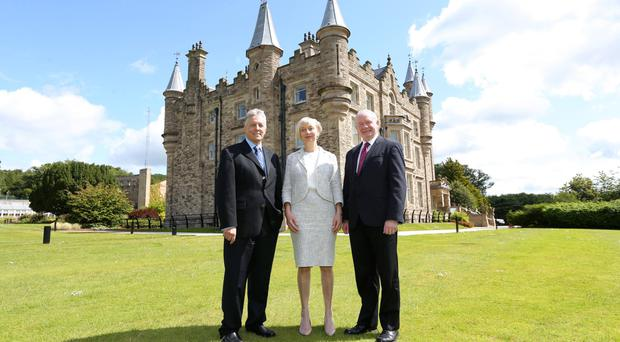 New Victims' Commissioner Judith Thompson is announced at Stormont Castle by First Minister Peter Robinson and Deputy First Minister Martin McGuinness last month - a sign that the two political leaders can work together on important issues