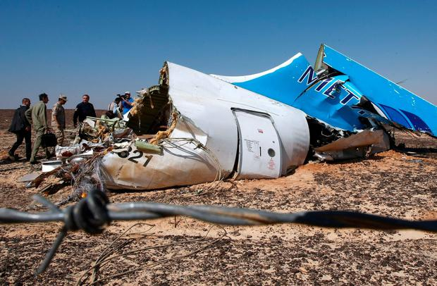 The twisted wreckage of the Russian airliner which crashed en route from Sharm el-Sheikh to St Petersburg