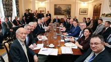 MLAs and members of the British and Irish governments after the Stormont House Agreement was hammered out after weeks of negotiation