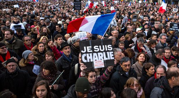 Defiant: thousands attend the Unity rally in Paris at the weekend