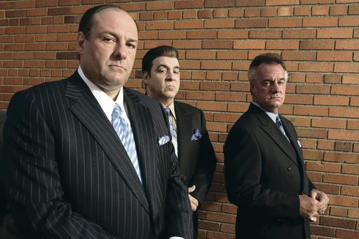 Small screen giant: James Gandolfini as Tony Soprano in The Sopranos with loyal sidekick Silvio Dante (Steven Van Zandt)