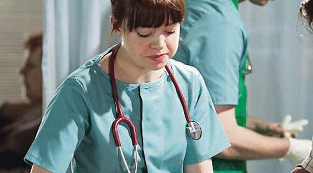 Undated Handout Photo from BBC's Casualty. Picture shows: It's the first day in Holby City ED for new F2 doctors Toby De Silva [MATTHEW NEEDHAM] and Ruth Winters [GEORGIA TAYLOR].