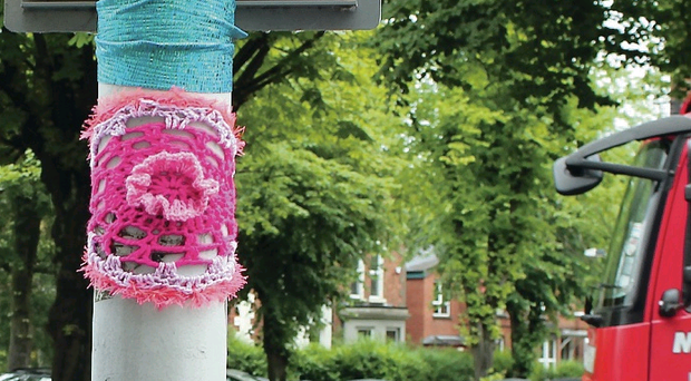 Some yarn: the colourful knitted pieces on display