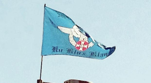 Sign of the times: a Ku Klux Klan flag flying in east Belfast