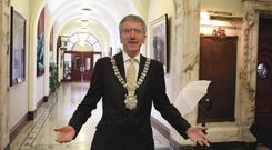 On message: former Belfast Lord Mayor Mairtin O Muilleoir is a prolific