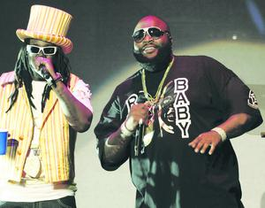T-Pain, left, and Rick Ross perform together during the 8th Annual BMI Urban Awards in Beverly Hills, Calif., Thursday, Sept. 4, 2008. (AP Photo/Chris Pizzello)