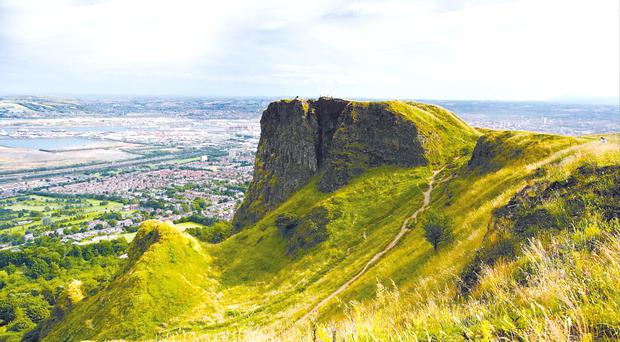The view from the Cavehill over Belfast with Napoleon's Nose in the forefront