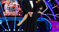 A laughing Bruce with Tess Daly on Strictly — but he admits he felt lonely on show
