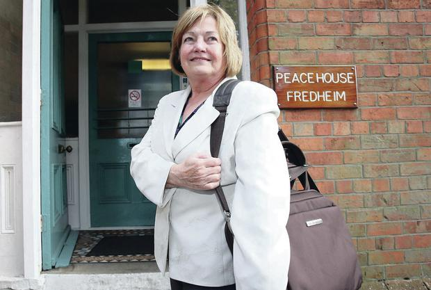 Mairead Maguire stands outside Peace House, Belfast, after being deported from Israel in 2010
