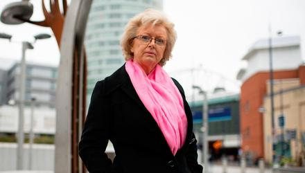 Failed: Julie Hambleton, who lost her sister Maxine in the 1974 attack, by the Birmingham pub bombings memorial. Credit: Jacob King