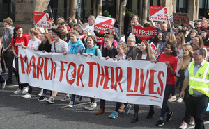 Controversy: A Precious Life march held in Belfast. The group has been criticised for a leaflet warning people against the Covid-19 vaccine