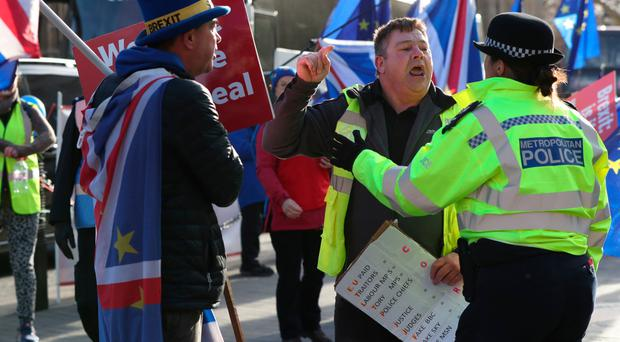 Police speak to a Leave protester outside Westminster