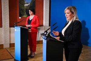 Blame game: First Minister Arlene Foster and deputy First Minister Michelle O'Neill
