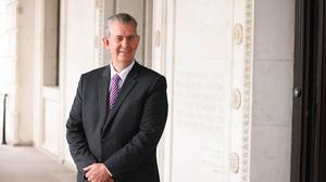 Minister Edwin Poots at Parliament Buildings, Stormont.