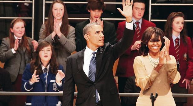 The President of the United States of America, Barack Obama and his wife, First Lady Michelle Obama visited the Waterfront Hall, Belfast ahead of the G8 Summit in Enniskillen.