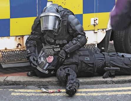 Policing in Belfast during rioting in Belfast city centre on Friday