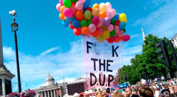 The anti-DUP banner also appeared at London Pride in July. There was no police reaction