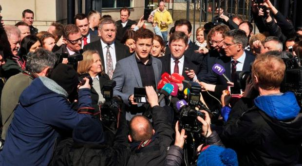 Paddy Jackson speaks to journalists after he was found not guilty of rape