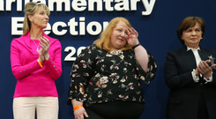 From left, Martina Anderson, Naomi Long and Diane Dodds at the count for the European elections