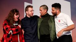 Tai Shani, Lawrence Abu Hamdan, Helen Cammock and Oscar Murillo after being announced as the joint winners of the Turner Prize