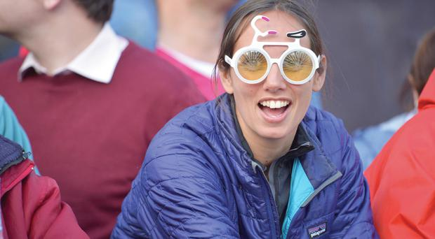 One of the thousands of fans who turned out to watch the Giro d'Italia