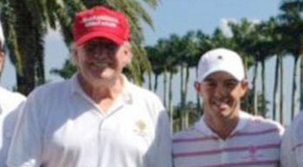 US President Donald Trump with Rory McIlroy
