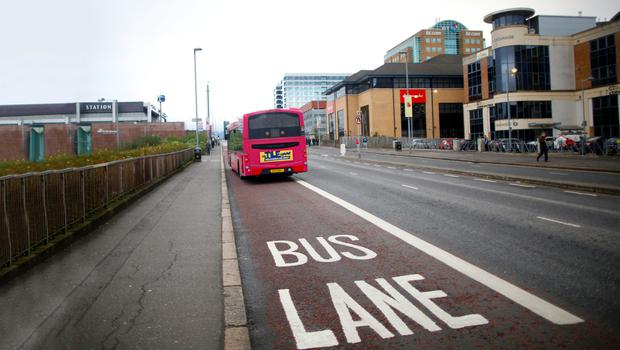 One of Belfast's many bus lanes