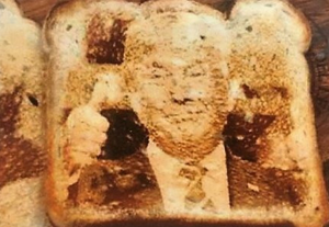 'The new face people are finding on foodstuffs, such as a pizza, or a slice of toast, is Donald Trump.'