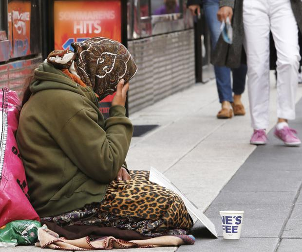 Sorry sight: migrants can be seen begging in many towns and cities