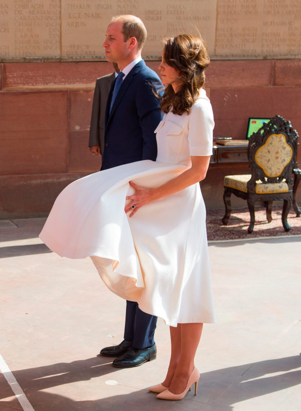 Monroe moment: the Duchess of Cambridge is almost caught out by a gust of wind
