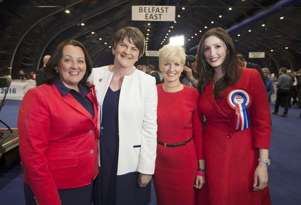 Changing times: First Minister Arlene Foster with her DUP colleagues Paula Bradley, Joanne Bunting and Emma Little Pengelly who were all elected to the Assembly last week