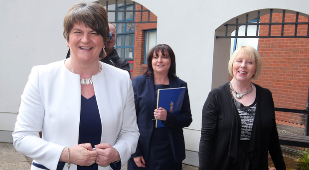 Building bridges: DUP leader Arlene Foster after a visit to Our Lady's Grammar School in Newry, where she met pupils and staff, including principal Fiona McAlinden (centre) and vice principal Teresa McAlister