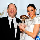 Fallen idol: Harvey Weinstein with wife Georgina Chapman, who has left him