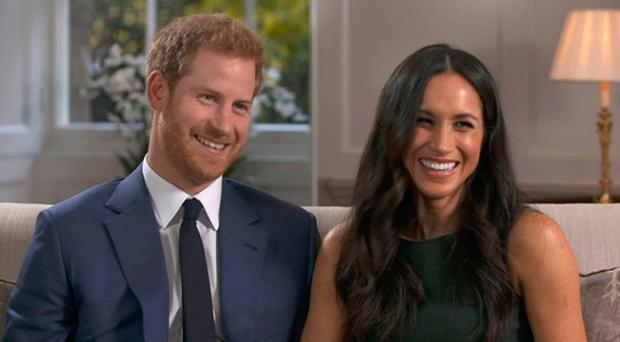 Happy couple: Meghan Markle and Prince Harry during their interview with the BBC after announcing their engagement