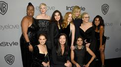 United front: at the Golden Globes after party were (top row, from left) Tarana Burke, Michelle Williams, America Ferrera, Jessica Chastain, Amy Poehler, Meryl Streep and Kerry Washington, and (bottom row,from left) Natalie Portman, Ai-jen Poo and Saru Jayaraman