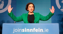 Bad start: Mary Lou Mary Lou McDonald speaking at Sinn Fein's special Ard Fheis, where she was elected the new party president