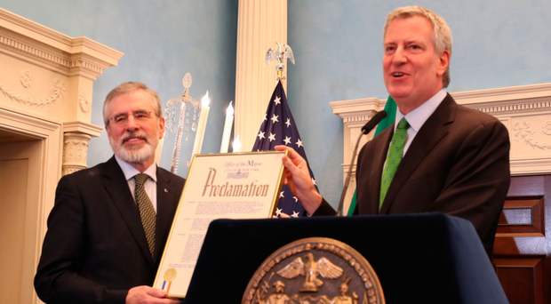 Ex-Sinn Fein chief Gerry Adams with Mayor of New York Bill de Blasio