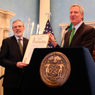 Poor taste: Ex-Sinn Fein chief Gerry Adams with Mayor of New York Bill de Blasio